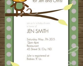 It's a boy baby shower invitation, digital printable file 5x7, 4x6, money theme, green