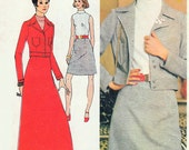 70s RETRO Dress Mini or Maxi Dress Bomber Jacket Pattern SIMPLICITY 5132 For Knit fabrics  Vintage Sewing Pattern Bust 36