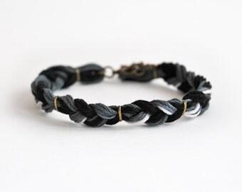 Mens bracelet, black braided bracelet for him, male friendship bracelet, gift for him