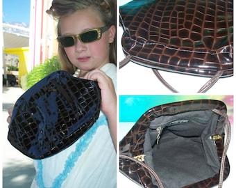 VTG Vintage 80s Dark Brown Liquid Patent Sheen Alligator Embossed Long Strap Purse / Handbag / Mouth  Automatic Closure / messenger
