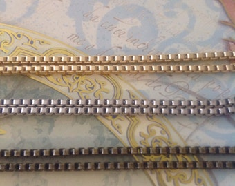 Square Box Chain 2 x 2 mm- great jewelry makers chain-mixed media,metal collage- High quality-nickle free-hypoallergenic-KR304
