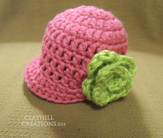 Newsboy Crochet Hat with a Flower Chunky Yarn by ...