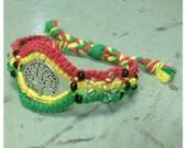 Rasta Hemp Tree of Life Bracelet Cuff Eco Friendly Natural Glass Seed Beads Adjustable