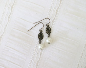 Antique Bronze Flower and Pearl Earrings - Vintage Inspired