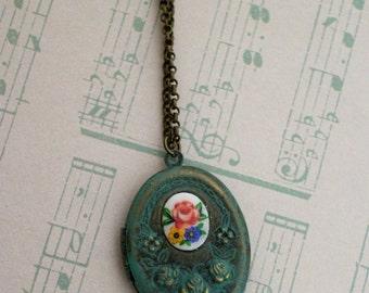 Rose Locket Necklace - Verdigris - Green Patina
