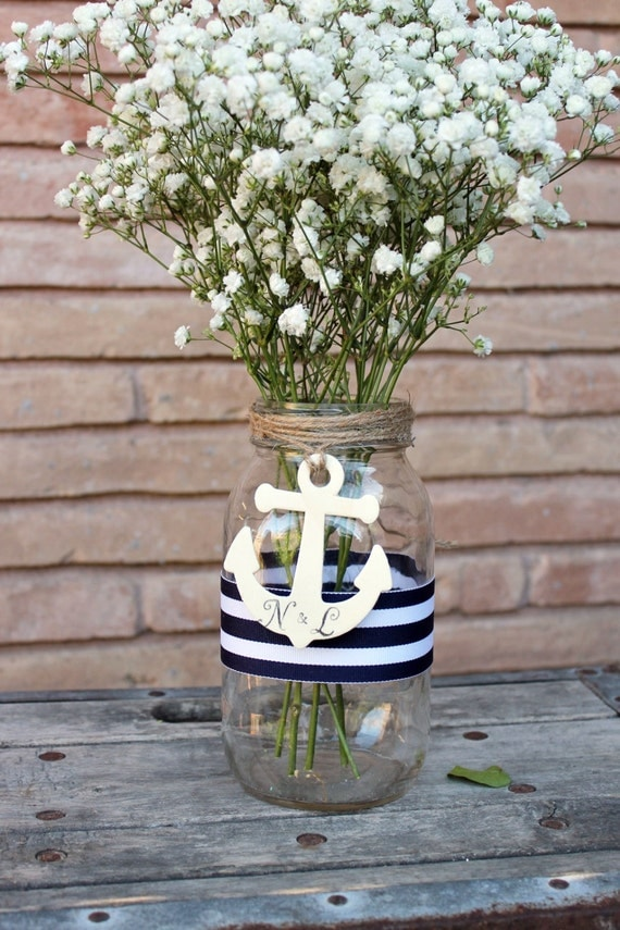 Personalized Anchor Centerpiece Mason Jar Nautical Wedding