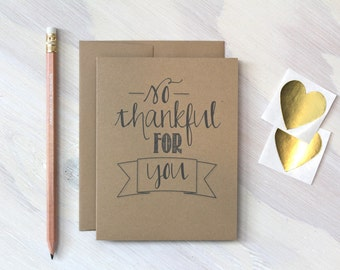 Rustic Kraft So Thankful for You Card, Thanksgiving Card, Kraft Greeting Card, Stationery, Stationary, Father's Day Card, Thank You Note