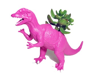 Up-cycled Hot Pink Dilophosaurus Dinosaur Planter