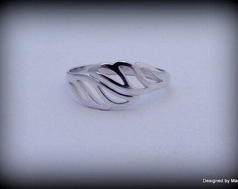 Sterling silver Angel wing ring, heavenly ring,  adjustable ring