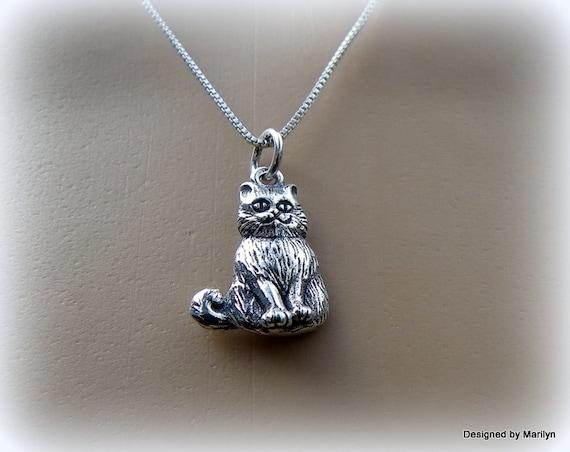 Sterling silver Kitty Cat necklace, feline jewelry, happy cat necklace