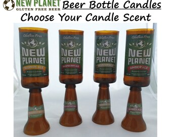 New Planet Brand Scented Beer Bottle Candles with Pedestal