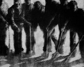"Haunting Figure Print Dark Creepy Shadows Spooky Hand Pulled Intaglio Fine Art Aquatint ""Line"""
