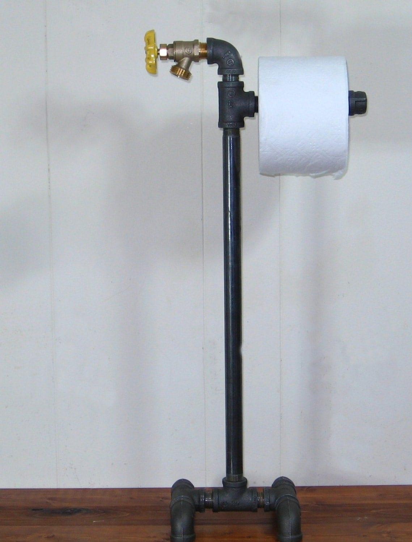 Steampunk industrial machine age floor stand toilet paper - Toilet paper holder floor stand ...