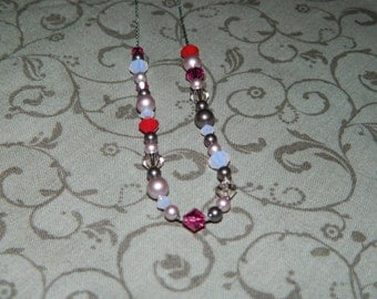 Swarovski Crystal and Pearl Beaded Necklace and Earrings