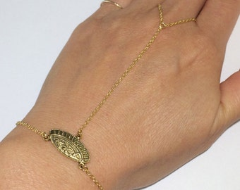 Gold Chain Linked Ring Bracelet with Connector - Gold Bracelet, Hand Jewelry - Hand Flower - Handflower