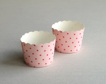 Pink Polka Dot Baking Cups with Scalloped Tops (set of 12) - Perfect for Wedding & Baby Shower