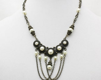 Antique Brass and Pearl Chain Choker