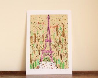 PARIS PRINT, Eiffel Tower Art, Paris Watercolor Painting, Tour Eiffel Paris, French Wall Art, Champ de Mars, Signed Giclee Print