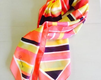 Vintage  Square Scarf by Symphony Scarfs Coral, Pink, Black, Green and Yellow stripes