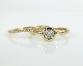 Set of 2: Solitaire Diamond Bezel-Set Engagement  Ring & Rose Gold Eternity Band.