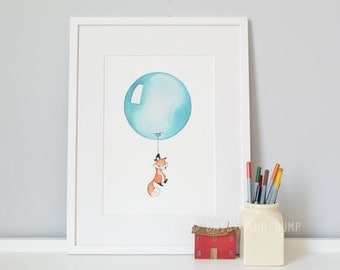 Teal Balloon, UNFRAMED Nursery Picture, Green, Turquoise, Blue, New Baby Art, Unisex wall art, Baby bedroom Art, Baby shower gift