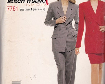 McCalls 7761 Vintage Pattern Womens Lined Jacket, Pants and Skirt Size 12,14,16,18 UNCUT