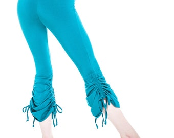 Women's Yoga Belly Dance Active Workout Stretchy Organic Cotton Bamboo Capri Full Length Cinch Pants Teal Blue Casual ALL SIZES and INSEAMS