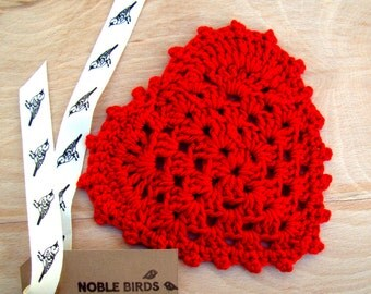 Valentine Crochet Heart Coasters, Set of 4, perfect for loved ones!