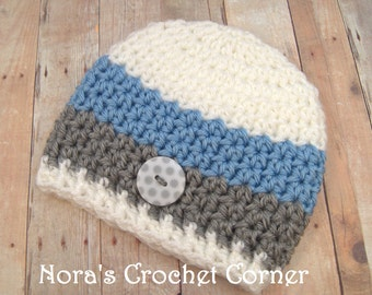 Crochet Baby Boy Hat, Beanie with White/Gray polka dot button, White, Gray, Blue