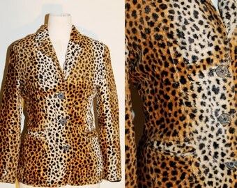 VINTAGE 90s Glam Goth Rock Retro Leopard Animal Print Faux Fur Fitted Blazer Jacket