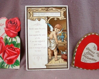 Lot/3 VINTAGE VALENTINES ... for Collecting or Crafting ....