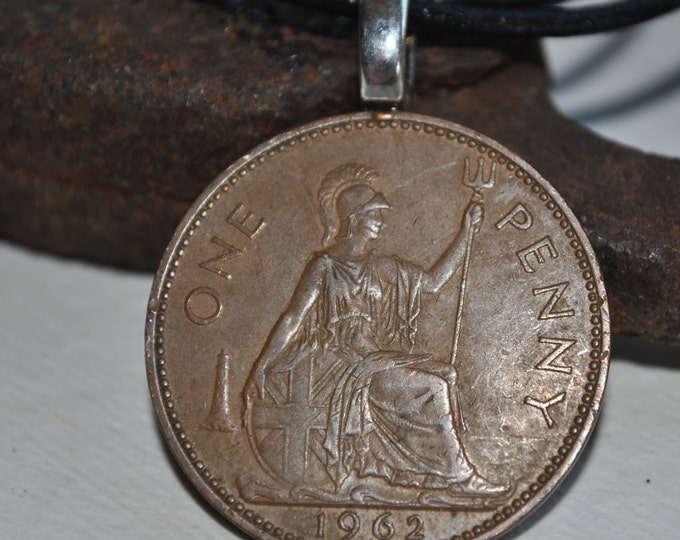 Men's Lucky penny British 1913 coin necklace, good luck, good fortune necklace