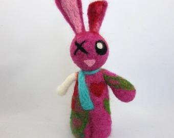 Zombie Bunny- Needle Felted Bunny- Zombie