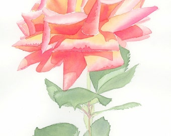 ORIGINAL watercolor rose painting, rose in oranges and yellows, NOT A PRINT!
