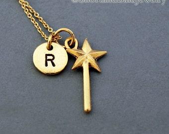 Magic wand necklace, Fairy wand charm, Wand, Gold wand charm, Fairy Godmother wand, initial necklace, personalized, monogram
