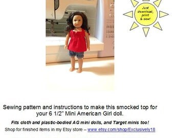 Smocked Top – American Girl mini doll shirt pattern – fits old and new style AG minis and Our Generation minis too!