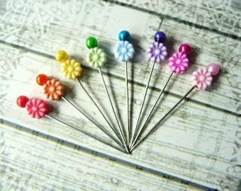 8 Mini Flower Decorative Handmade Beaded 1.5 inch Stick Pins - Sewing Pins - Scrapbook Embellishment Pins - Mixed Media Findings - SPB4