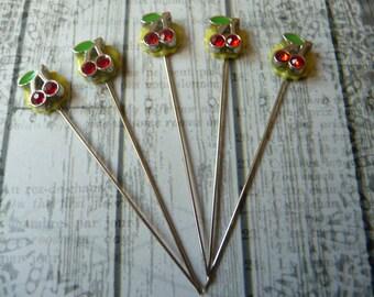 5 Rhinestone Cherry Handmade Decorative 2 inch Stick Pins - Sewing Pins - Scrapbook Embellishment Pins - Mixed Media aaSupplies - QPFC17