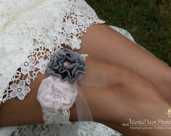 Bridal Flower Jeweled Garter Wedding Lace Bridesmaids Garter with Brooches, Crystals, Pearls and Handmade Flowers