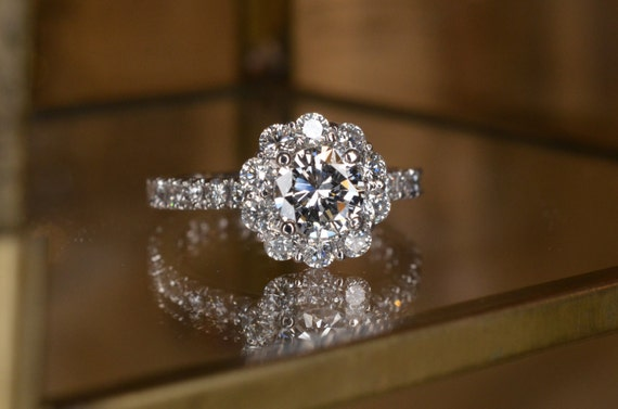 Flower Shaped Diamond Engagement Ring And Eternity Band Set