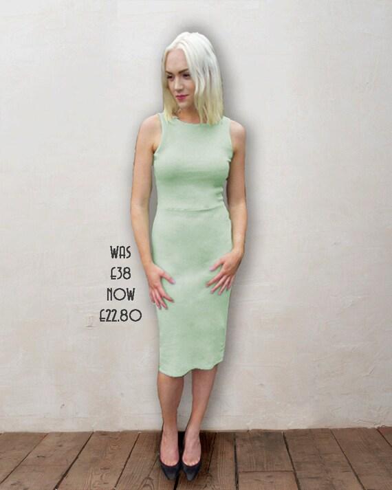 SALE Marilyn Scoop Back Bodycon Jersey Dress in Mint Green