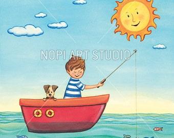 Nursery Art, Kids Room Printable Wall Art Download, Summer Watercolor  Painting, Children Wall