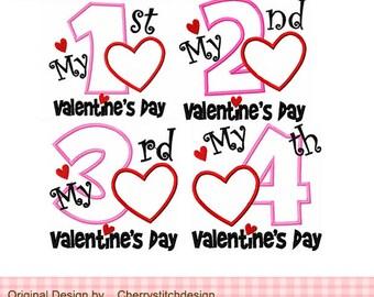 "My 1st Valentine's Day ,My 2nd Valentine's Day ,My 3rd Valentine's Day ,My 4th Valentine's Day,Valentine's Day Applique -4x4 5x5 6x6"""