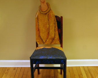 Modigliani Jeanne Hebuterne in a Yellow Sweater upscaled  chair painted by Artist Todd Fendos