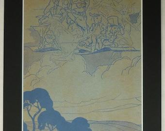 1930s Children's Fairytale Print of Favourite Characters Vintage fairy tale decor, retro children's art - Magic Carpet - Flying Carpet Gift