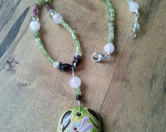 Dragonfly Peridot and PInk Necklace