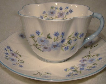 SHELLEY China Blue Rock 13591 Fluted Tea CUP SAUCER Teacup 1950s
