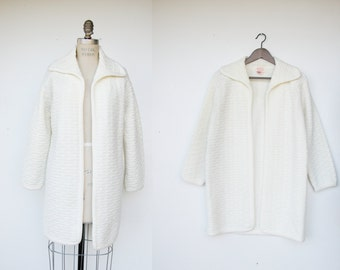 Vintage winter white open cardigan / honeycomb sweater: size small / medium