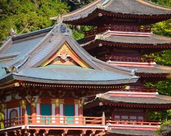 """San Francisco Photography - red pagoda japanese tea garden san francisco 8x10 green wall decor 11x14 photos city photography """"Tea Garden"""""""