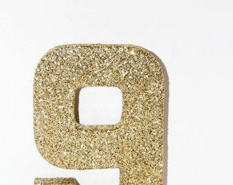 Glitter Number Decoration Handmade 0-9 Silver and Gold